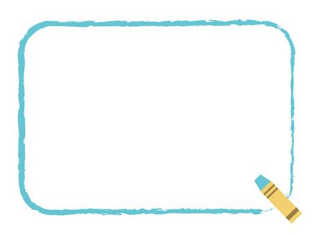 Crayon square frame light blue