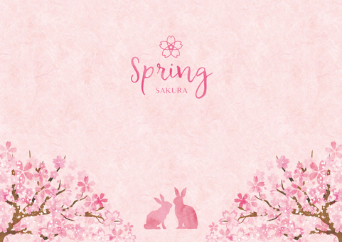 Spring background frame 029 Sakura watercolor paper