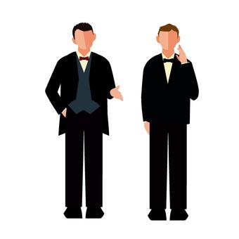 Two men in a tuxedo