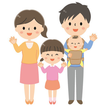 Cute four person family illustration / parent and child