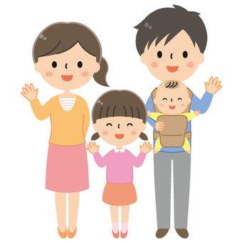 逗人喜愛的四個人家庭例證/父母和孩子