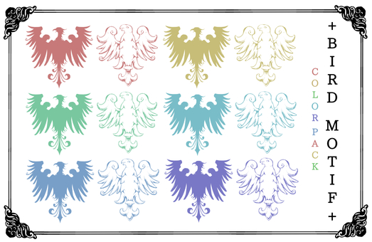 Antique style bird motif (color)