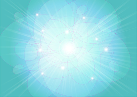 Oval round ball and rays - light blue