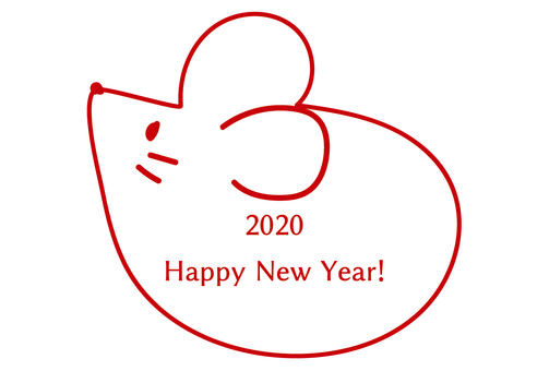 2020 New Year card mouse simple single color