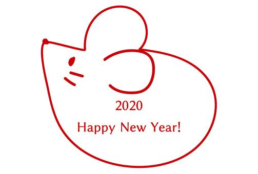 2020年新年賀卡鼠標簡單單色