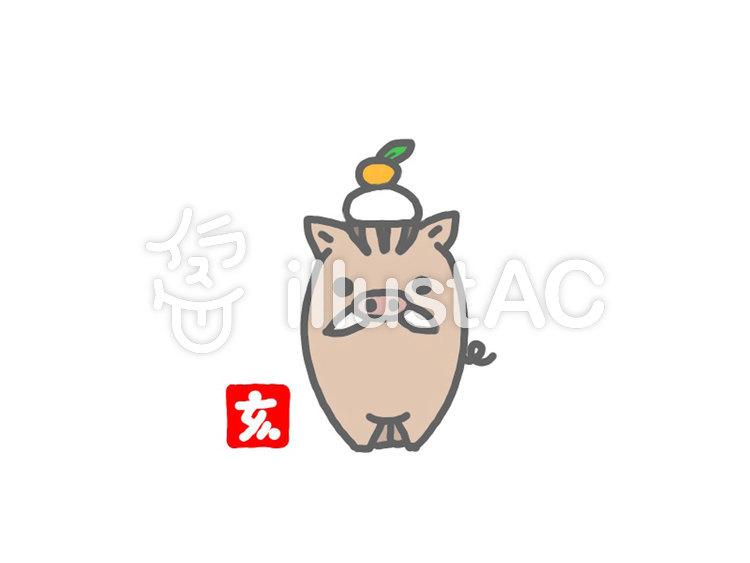 かわいい鏡餅イノシシ年賀状イラスト No 1283763無料イラスト