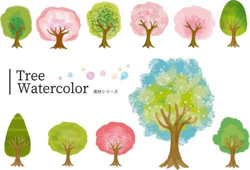 수채화 바람 나무