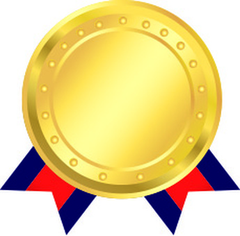 Gold medal and red ribbon short