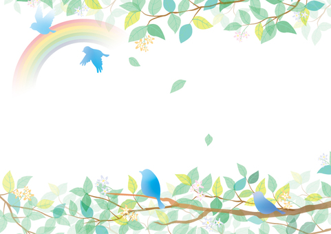 Blue bird and fresh green and rainbow frame