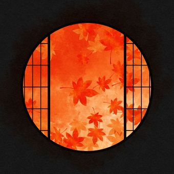 Watercolor round window material autumn leaves / red
