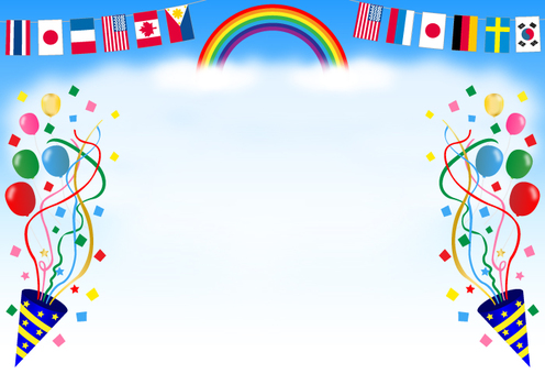 Sports day, background (rainbow, national flag, cracker)