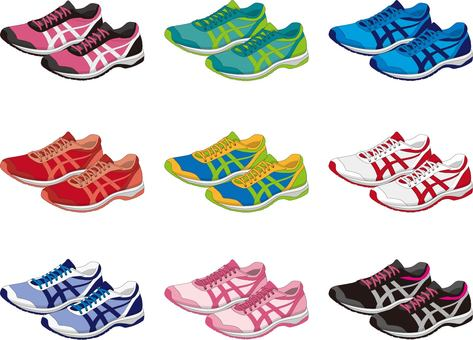 Jogging shoes color set