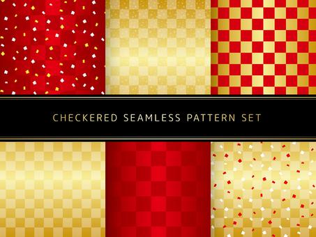 Seamless pattern set of checkered pattern