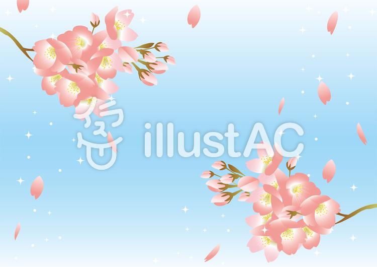 桜 背景 水色のイラスト