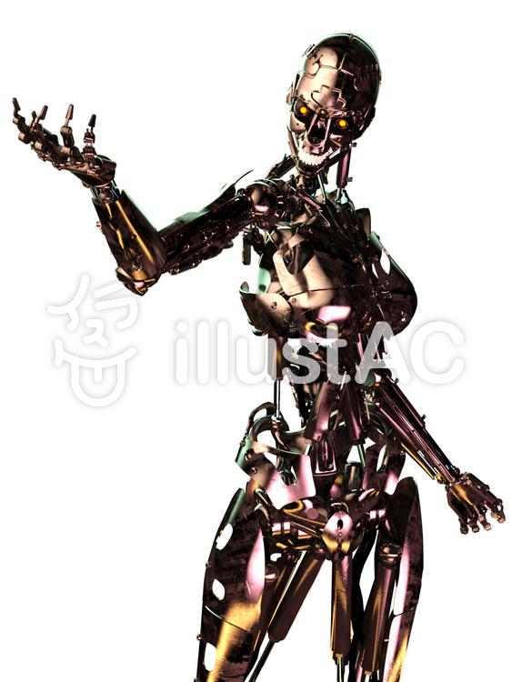 人間型骨格のみロボットのイラスト