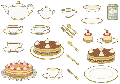 Tea set line available Tea set and cake Tea can