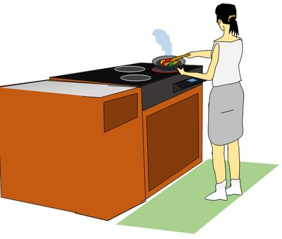 Woman doing stir-fry