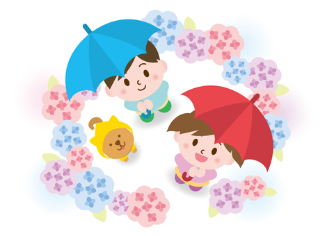 Children and Shiba Inu surrounded by hydrangeas _A