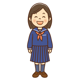 Smiling female junior high school student