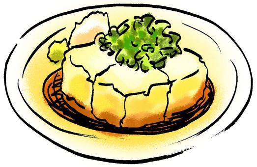 lightly deep-fried tofu