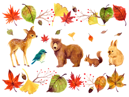 Fall animals illustration set