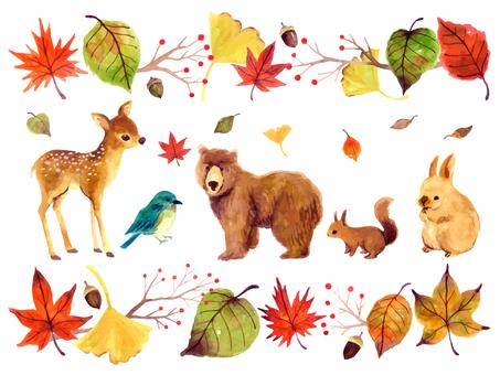 Fall animals illustration set