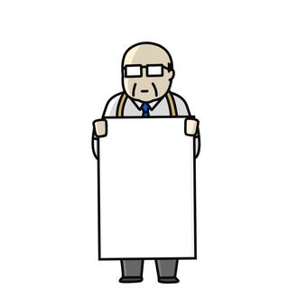 Signboard middle-aged man sandwich man