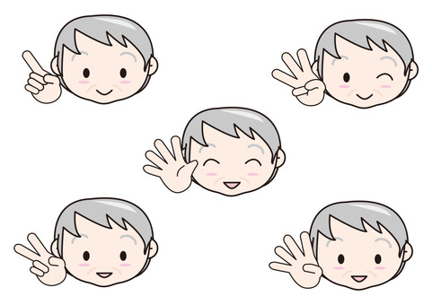 Granny with fingers 1 to 5
