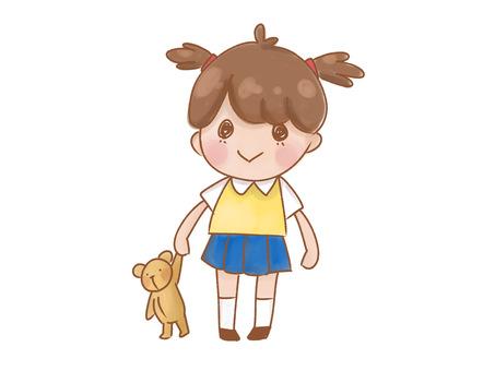 Girl with a bear doll