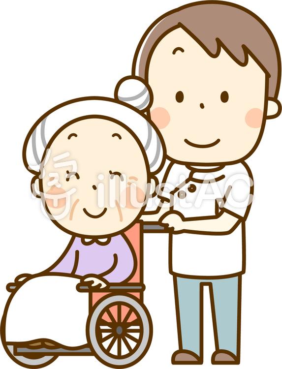 車椅子で散歩のイラスト