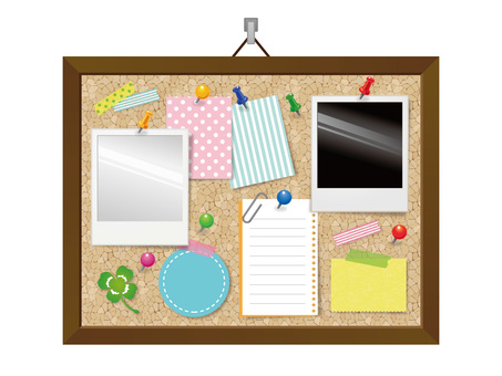 Wall hanging cork board (interior) material collection