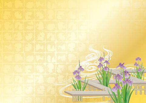 Floral iris and eight bridges _ gilt break __ horizontal size