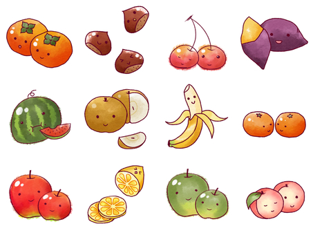 Assorted fruits with face 01