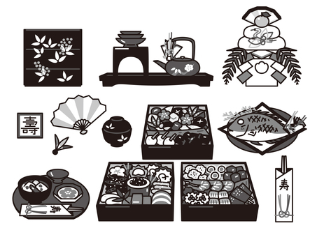 New Year's cuisine and decorations New Year's set Black and white