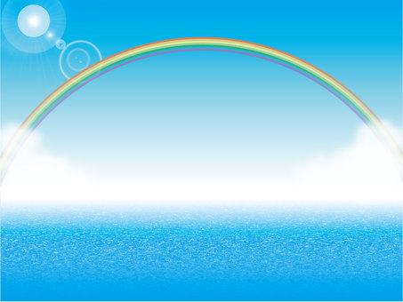 Blue sky, sea and rainbow