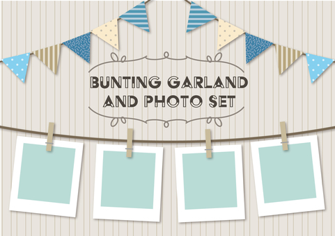 Set of garland and photo clip