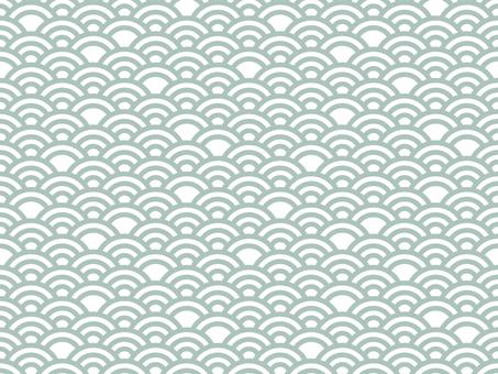 일본식 디자인 원활한 패턴 집 칭하이 파 04 / 녹색