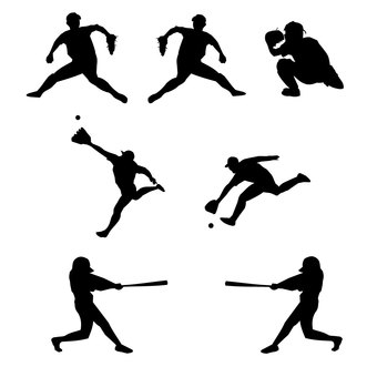 Baseball silhouette material set