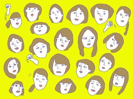 手描き女性の顔 セット