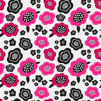 北欧風のピンクの花柄