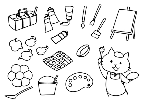 Painting materials (monochrome)