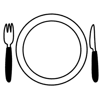 Cute hand-drawn plates, forks and knives