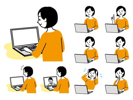 一個使用筆記本電腦的女人