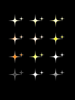 Stars shining in the night sky Glittering yellow