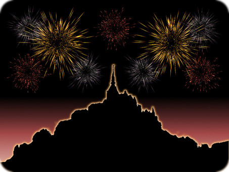 Fireworks of Mont-Saint-Michel 2