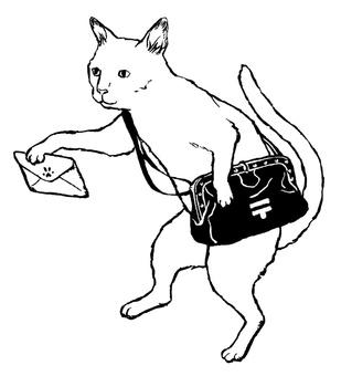 White cat monochrome