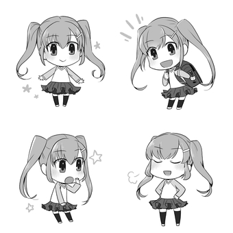 Twin tail girl (monochrome)