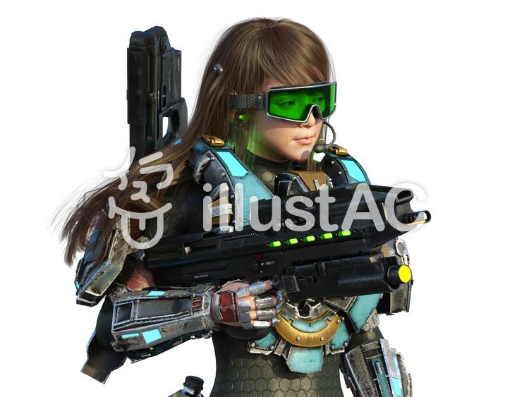 SF武装女性乗組員のイラスト