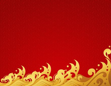 金の波の和風なフレーム_赤