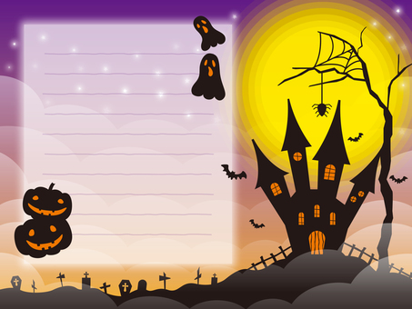 Halloween image 002 with purple ruled